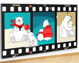 G919 Polar Bears Cub Cute Christmas Canvas Picture Poster Wall Art Stickers Room