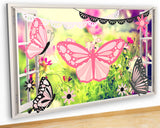 G922 Pink Butterfly Flowers Nature Canvas Picture Poster Wall Art Stickers Room