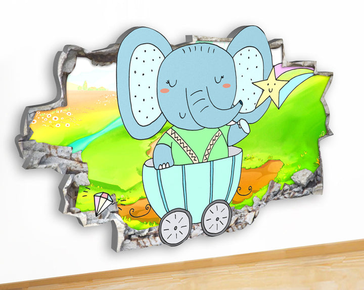 G928 Elephant Carriage Kid Nursery Canvas Picture Poster Wall Art Stickers Room