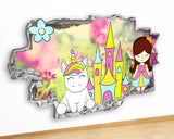 G933 Unicorn Rainbow Castle Girls Canvas Picture Poster Wall Art Stickers Room