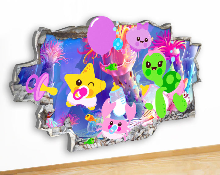 G936 Baby Sea Animals Nursery Cute Canvas Picture Poster Wall Art Stickers Room