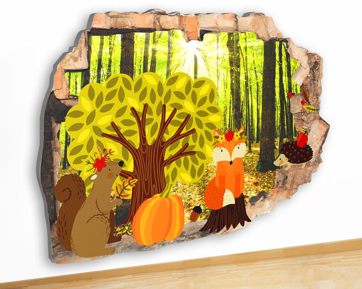 G937 Woods Forest Harvest Animals Canvas Picture Poster Wall Art Stickers Room