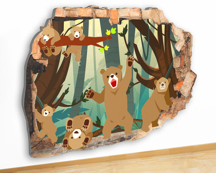 G940 Bear Cubs Woods Branch Kids Canvas Picture Poster Wall Art 3D Stickers Room