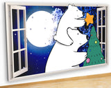 G947 Polar Bear Christmas Tree Kids Canvas Picture Poster Wall Art Stickers Room