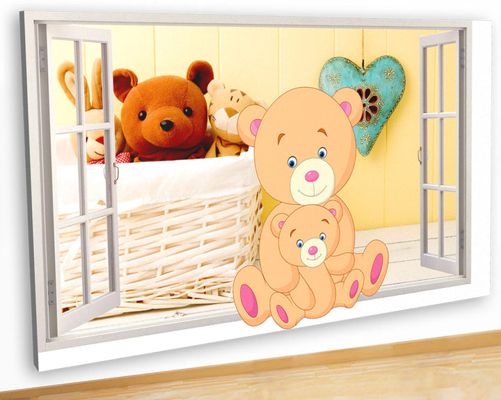G948 Teddy Bears Nursery Baby Toys Canvas Picture Poster Wall Art Stickers Room