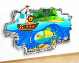 G949 Sea Boats Animals Kids Cool Canvas Picture Poster Wall Art 3D Stickers Room