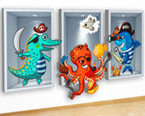 G950 Shark Octopus Crocodile Kids Canvas Picture Poster Wall Art Stickers Room