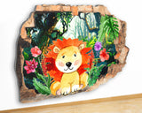 G951 Lion Flowers Jungle Bedroom Canvas Picture Poster Wall Art 3D Stickers Room