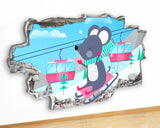 G952 Snow Mouse Cartoon Girls Kids Canvas Picture Poster Wall Art Stickers Room