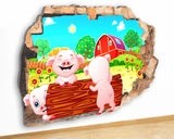 G954 Piglets Farm Animal Kids Baby Canvas Picture Poster Wall Art Stickers Room