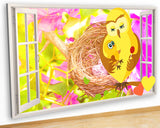 G955 Birds Mum Baby Nest Nursery Canvas Picture Poster Wall Art 3D Stickers Room