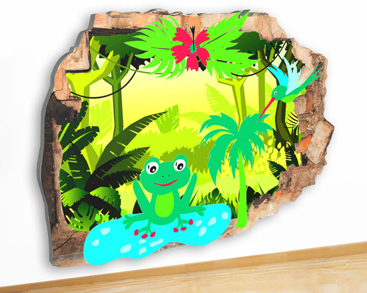 G957 Frog Rainforest Nature Kids Canvas Picture Poster Wall Art 3D Stickers Room