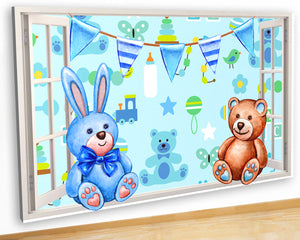 G958 Teddy Bear Rabbit Baby Boy Canvas Picture Poster Wall Art 3D Stickers Room