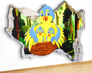 G959 Birds Nest Cartoon Forest Canvas Picture Poster Wall Art 3D Stickers Room