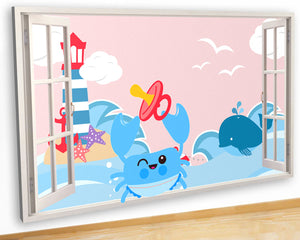 G960 Baby Crab Sea Nursery Boy Cute Canvas Picture Poster Wall Art Stickers Room