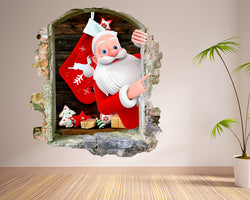 Santa Christmas Stocking Living Room Decal Vinyl Wall Sticker G978