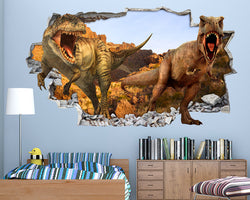 Brown Scary Dinosaurs Boys Bedroom Decal Vinyl Wall Sticker H038
