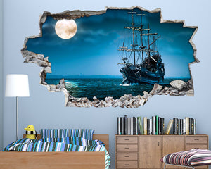 Cool Pirate Ship Boys Bedroom Decal Vinyl Wall Sticker H110