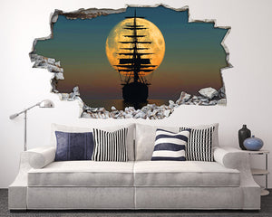 Moon Sea Pirate Ship Living Room Decal Vinyl Wall Sticker H112