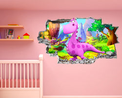 Cute Pink Dinosaur Nursery Decal Vinyl Wall Sticker H227
