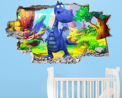 Cute Blue Dinosaur Nursery Decal Vinyl Wall Sticker H228