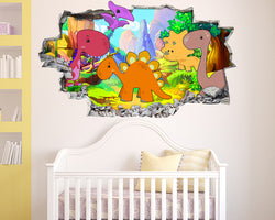 Cute Colourful Dinosaurs Nursery Decal Vinyl Wall Sticker H229