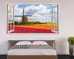 Scenic Windmill Flowers Bedroom Decal Vinyl Wall Sticker H272w
