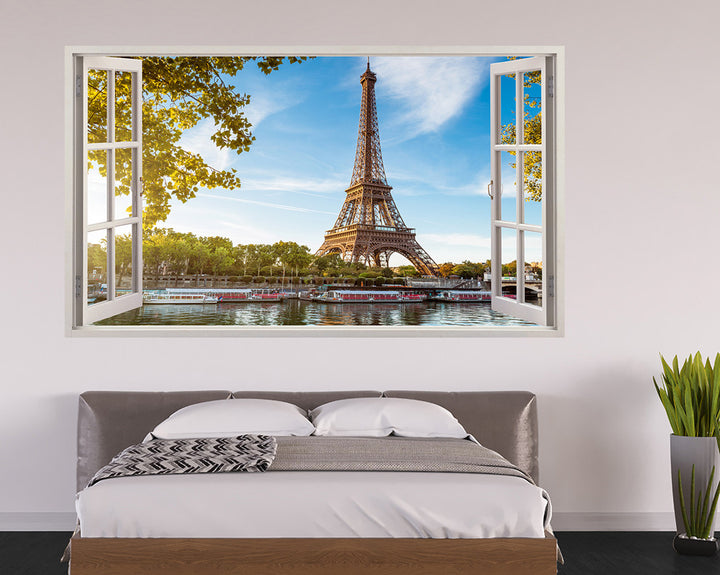 Paris Eiffel Tower Canal Bedroom Decal Vinyl Wall Sticker H282w