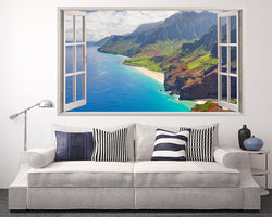 Mountain Coast Beach Living Room Decal Vinyl Wall Sticker H340w