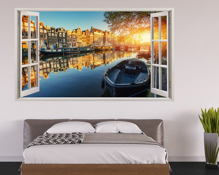 Amsterdam Canal Houses Bedroom Decal Vinyl Wall Sticker H503w