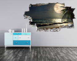 Night Beach Moon Hall Decal Vinyl Wall Sticker H675