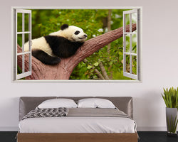Sleeping Panda Branch Bedroom Decal Vinyl Wall Sticker H716w