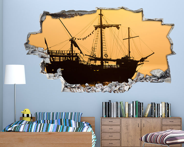 Ship Silhouette Boys Bedroom Decal Vinyl Wall Sticker H887