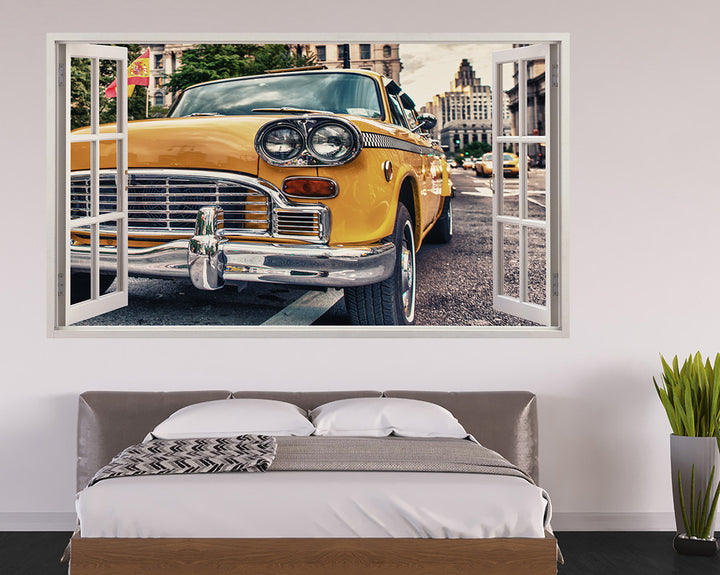 Yellow Taxi Car Bedroom Decal Vinyl Wall Sticker H891w