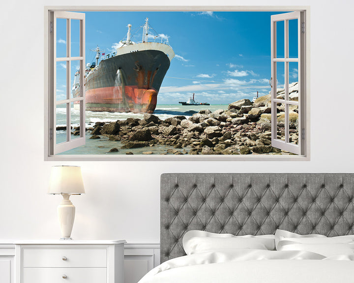 Ship Sea Coast Bedroom Decal Vinyl Wall Sticker H893w