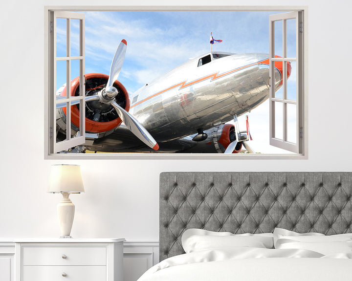 Silver Airplane Bedroom Decal Vinyl Wall Sticker H895w