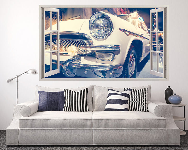 Vintage White Car Living Room Decal Vinyl Wall Sticker H897w
