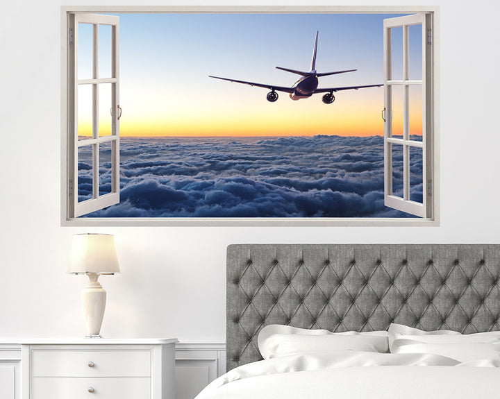 Airplane Clouds Bedroom Decal Vinyl Wall Sticker H903w