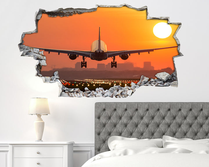 Airplane Sunset Runway Bedroom Decal Vinyl Wall Sticker H905