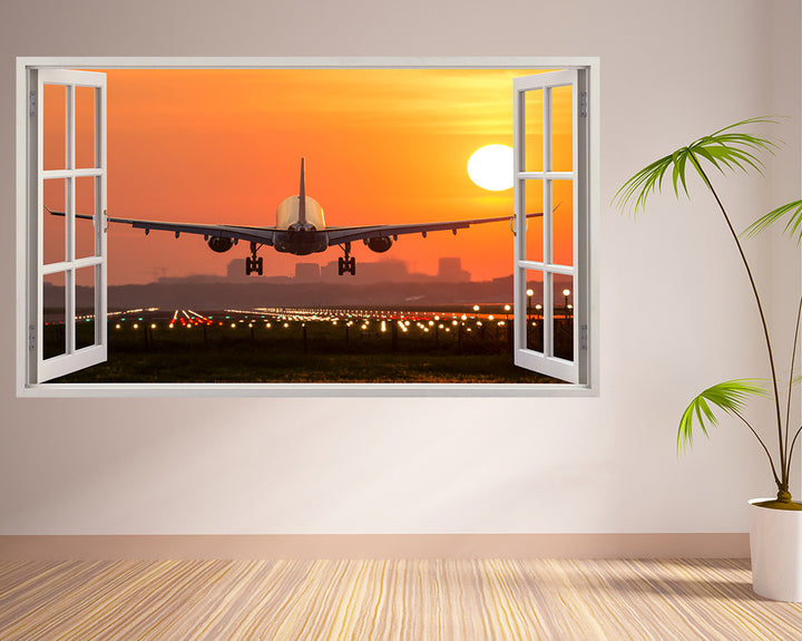 Airplane Sunset Runway Hall Decal Vinyl Wall Sticker H905w
