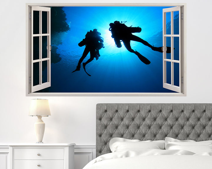 Scuba Divers Underwater Bedroom Decal Vinyl Wall Sticker H907w