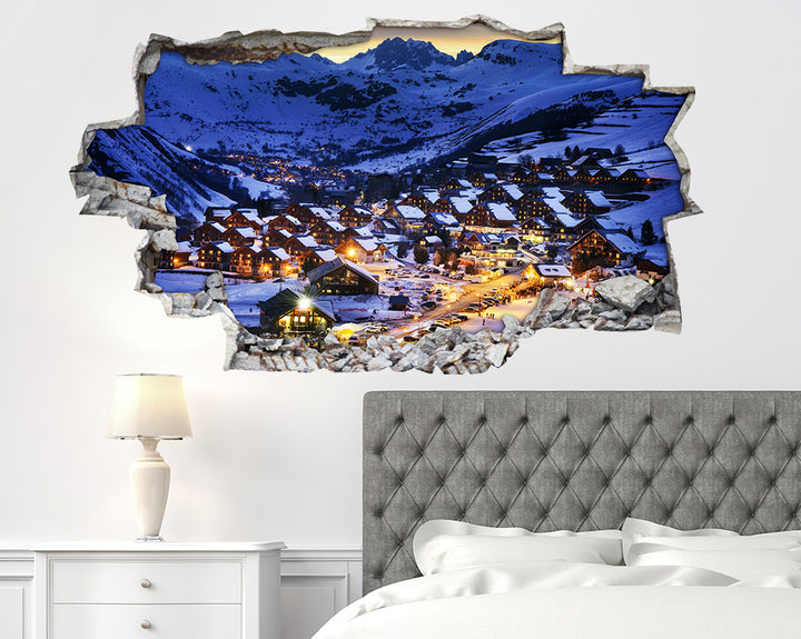 Snow Mountains Chalets Bedroom Decal Vinyl Wall Sticker H913