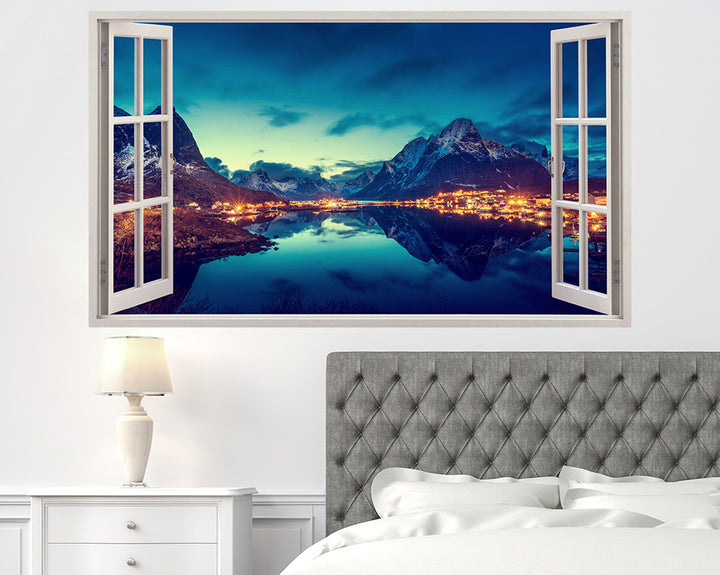 Beautiful Mountains Town Bedroom Decal Vinyl Wall Sticker H915w