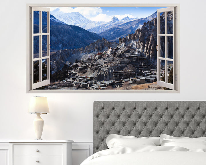 Mountain Village Ruins Bedroom Decal Vinyl Wall Sticker H916w