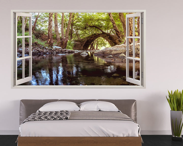 Forest Bridge River Bedroom Decal Vinyl Wall Sticker H919w