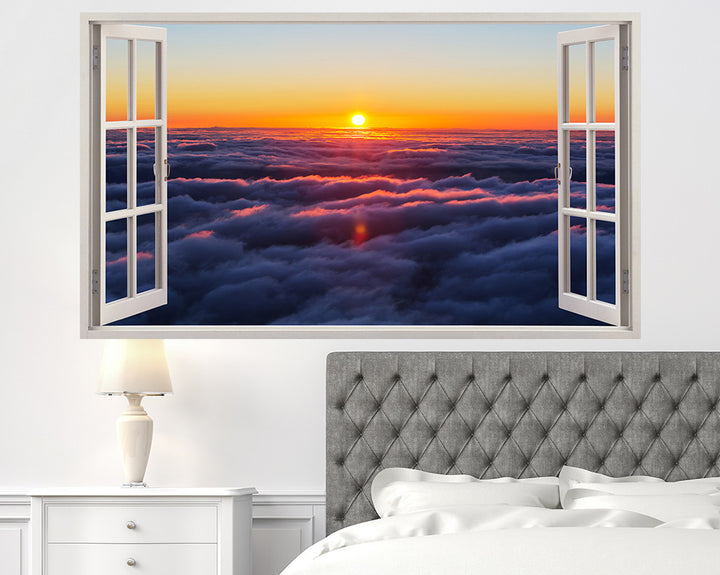 Clouds Sunset Sky Bedroom Decal Vinyl Wall Sticker H920w