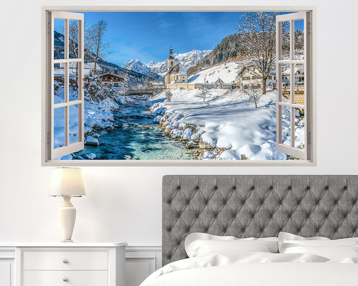 Scenic Snow River Bedroom Decal Vinyl Wall Sticker H922w