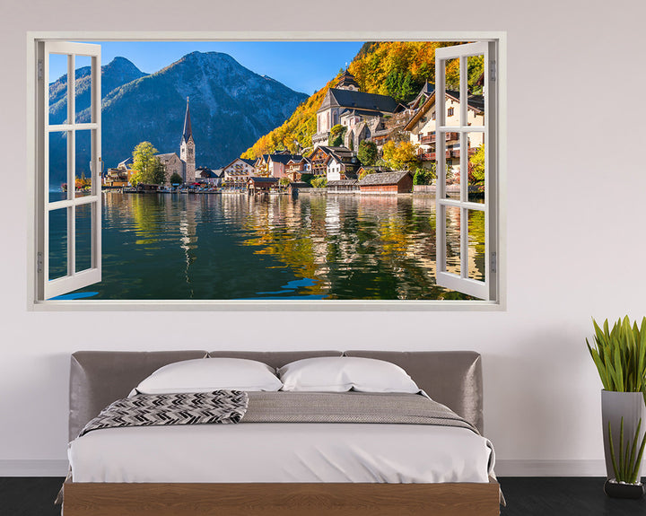 Scenic Mountain Village Bedroom Decal Vinyl Wall Sticker H923w