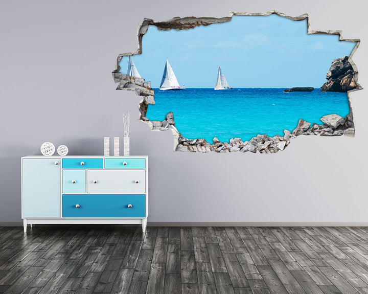 Sailing Boats Sea Hall Decal Vinyl Wall Sticker H925