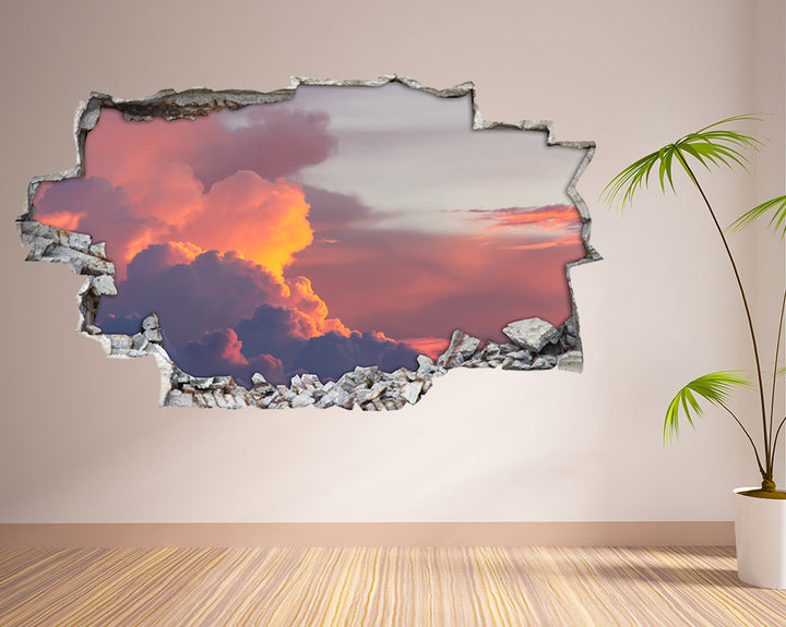 Sky Orange Clouds Living Room Decal Vinyl Wall Sticker H930